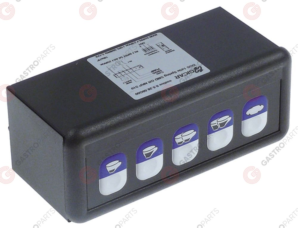 529.967, keypad unit buttons 5 230V L 117mm W 45,5mm without probe connection