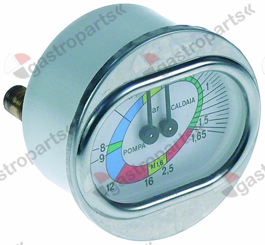 541.209, manometer double scale ø 70mm pressure range 0-2.5 / 0-16bar connection