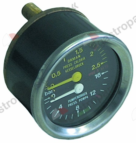 541.223, manometer double scale ø 60mm pressure range 0-2.5 / 0-16bar