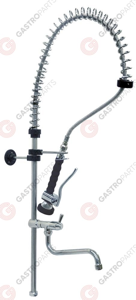 547.611, riser pipe long with swivel tap with spring, spring holder, hose, hand shower