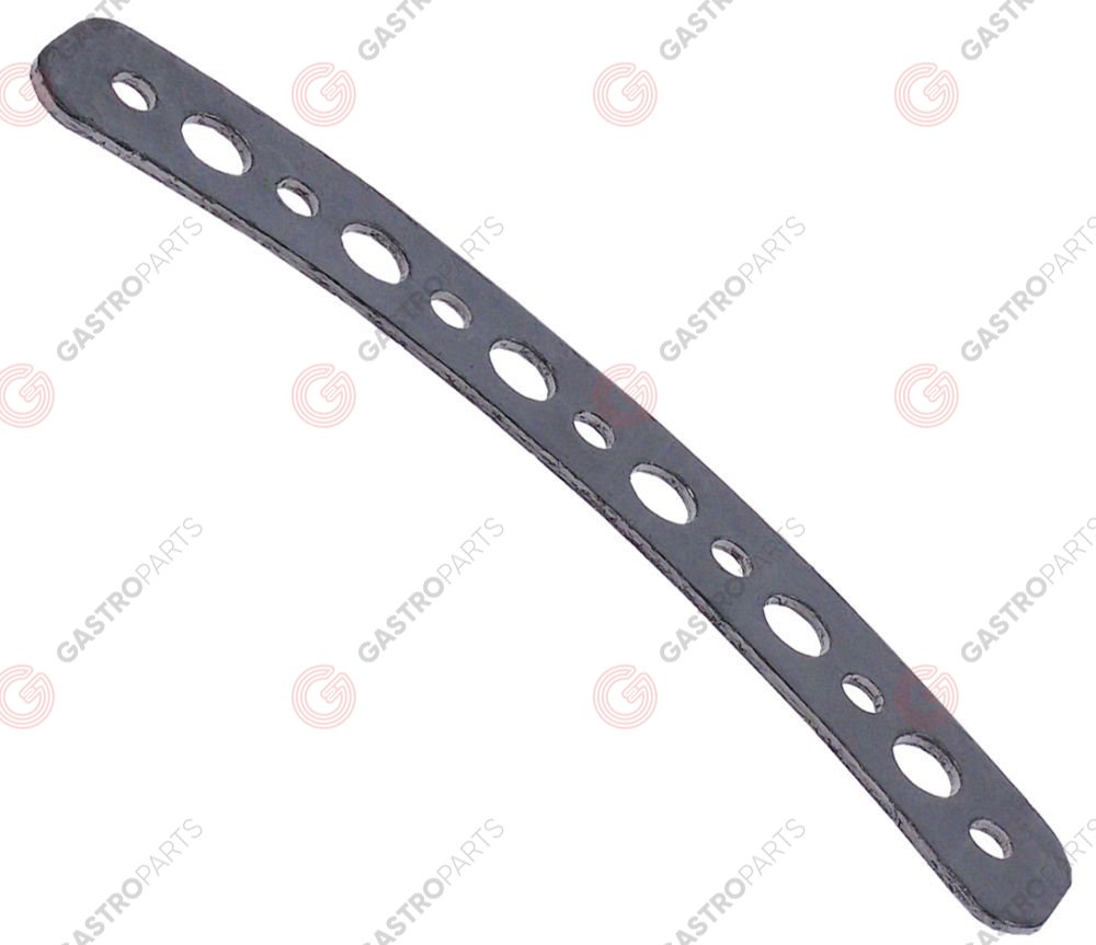 550.069, gasket L 210mm W 46mm D1 ø 12mm D2 ø 7mm graphite thickness 2mm for heating element