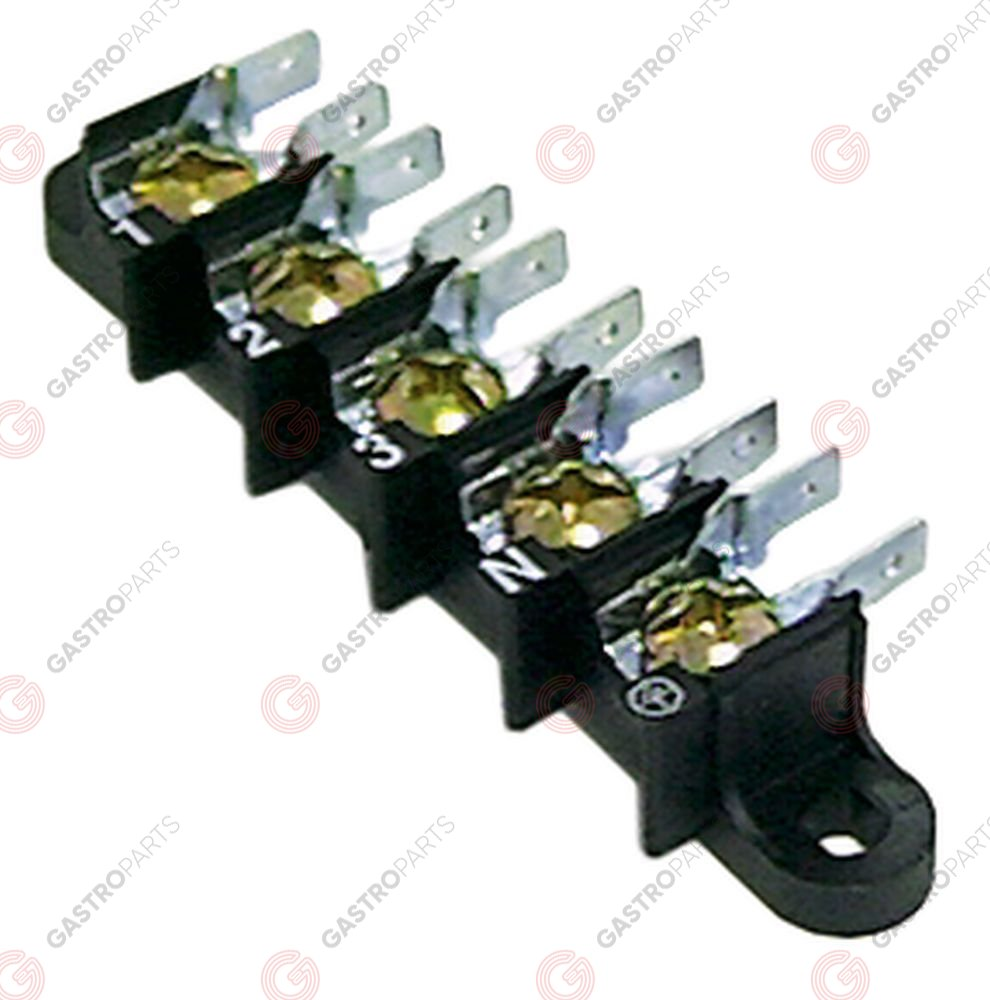 550.110, power terminal block 5-pole max. 40A max 250V connection M6/male faston 6.3mm