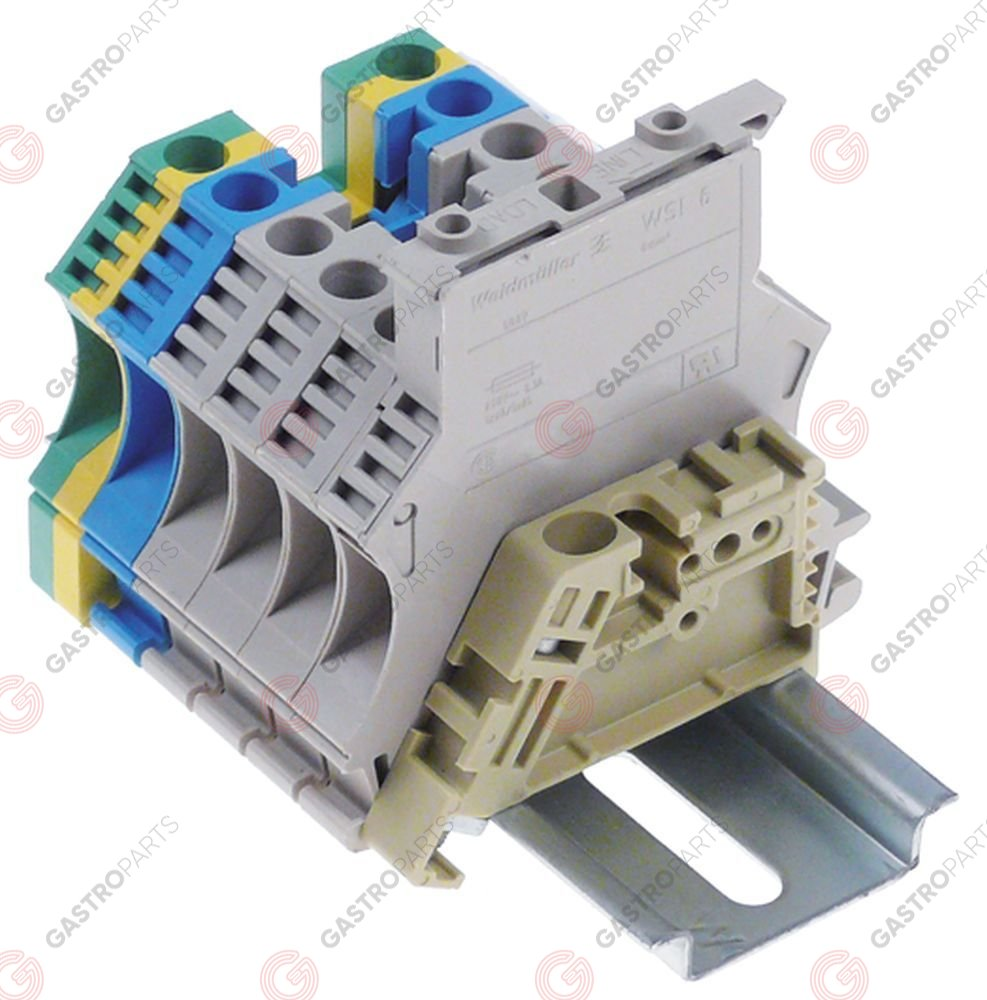551.072, rail-mounted terminal block cross section 6mm² suitable fuse 5x20/5x25mm