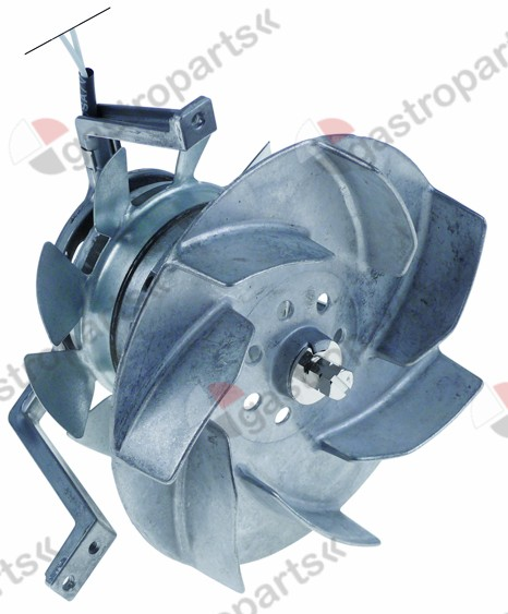 601.013, hot air fan 230V 43W 0,25A L1 60mm L2 20mm L3 25mm L4 155mm fan wheel ø 150mm type R2S150-AA08-29