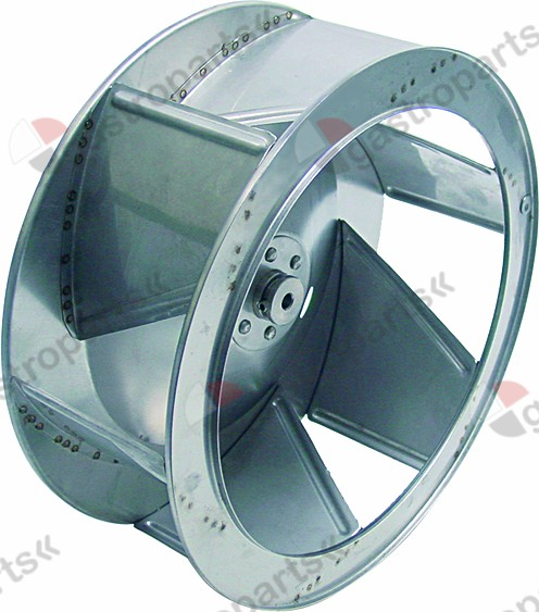 601.197, fan wheel D1 o 350mm H1 135mm vanes 6 D2 o 9,5mm