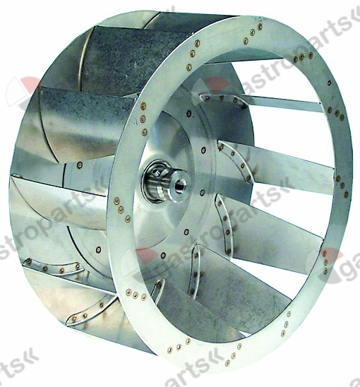 601.208, fan wheel D1 ø 335mm H1 135mm blades 12 D2 ø 12mm D3 ø 18mm H2 56mm