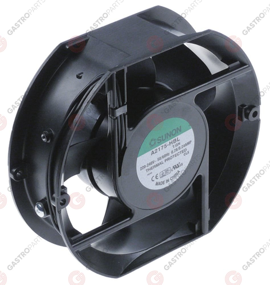 601.654, ventilatore assiale L 172mm lar. 150mm H 51mm 230VAC 50/60Hz 28/24W boccola cuscinetto