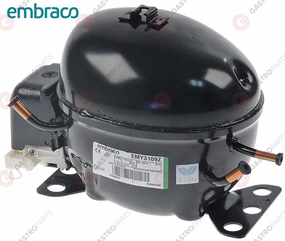 605.017, compressor coolant R134a type EMT36HLP 220-240V 50Hz LBP fully hermetic 7,52kg 1/10HP