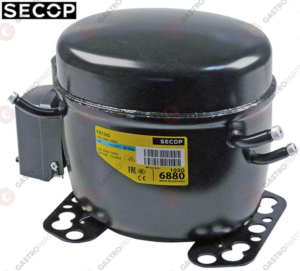 605.054, compressor coolant R134a type FR10G 230V 50Hz LBP/HBP fully hermetic 10,6kg 1/3HP