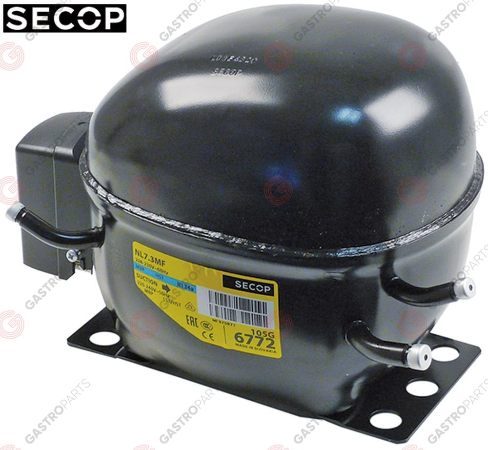 605.063, compressor coolant R134a type NL7.3MF 220-240V 50/60Hz MBP fully hermetic 10,5kg 1/5HP