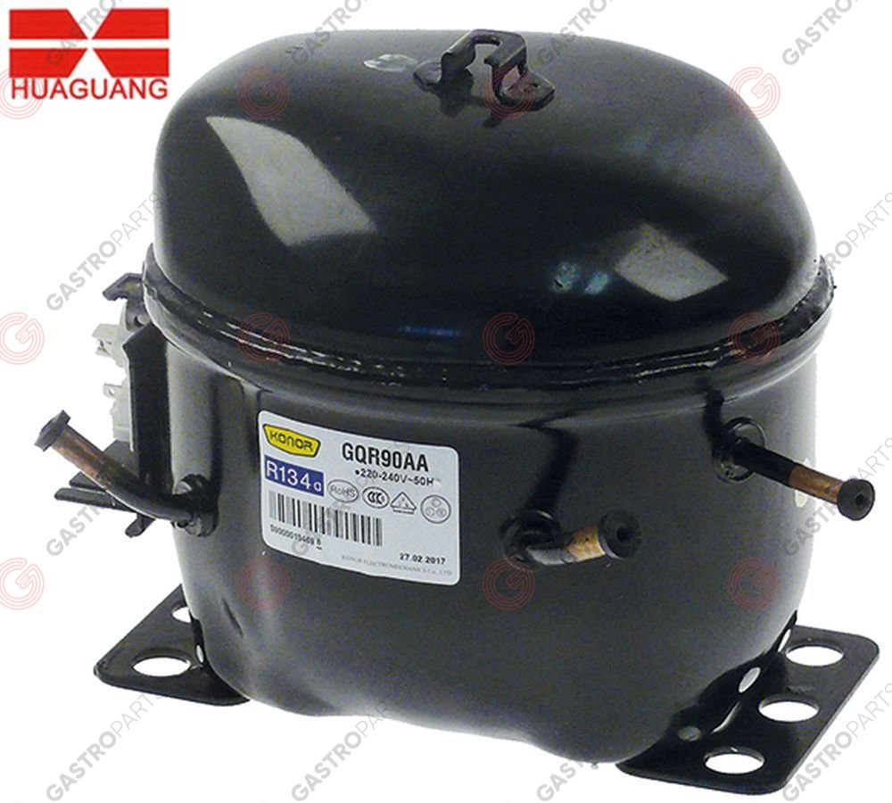 605.140, compressor KONOR type GQR90AA coolant R134a 220-240V 50Hz 10,1kg 1/4HP power input 220W