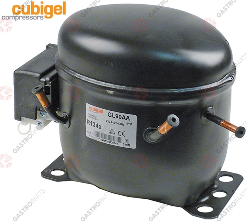 605.185, Compressor coolant R134a type GL90AA 220-240V 50 Hz LBP 9,4 kg 1/4HP power input 184 W