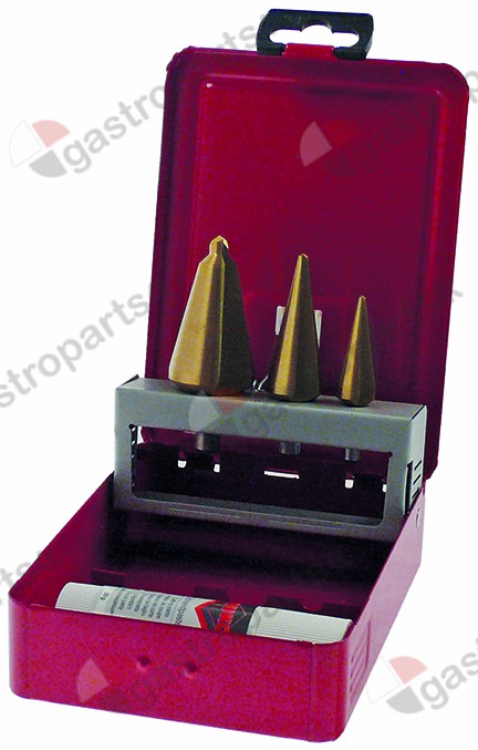 801.160, conical drill set HSS Co5-TiN 3-piece drilling range 3-14 / 5-20 / 16-30.5mm