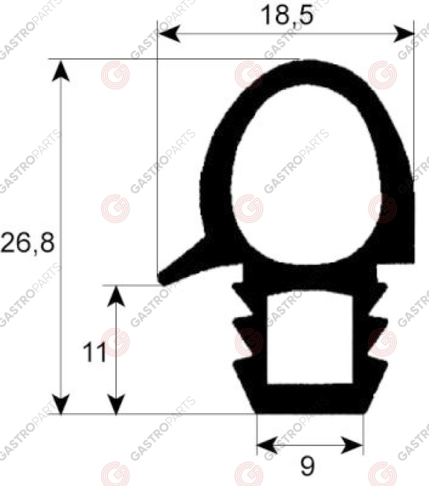 900.100, oven gasket profile 2070 W 460mm L 645mm external size Qty 1 6 x 1/1