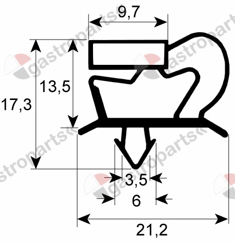 900.316, Replaced by 900301 / refrigeration gasket profile 9048 W 660mm L 1565mmplug size door
