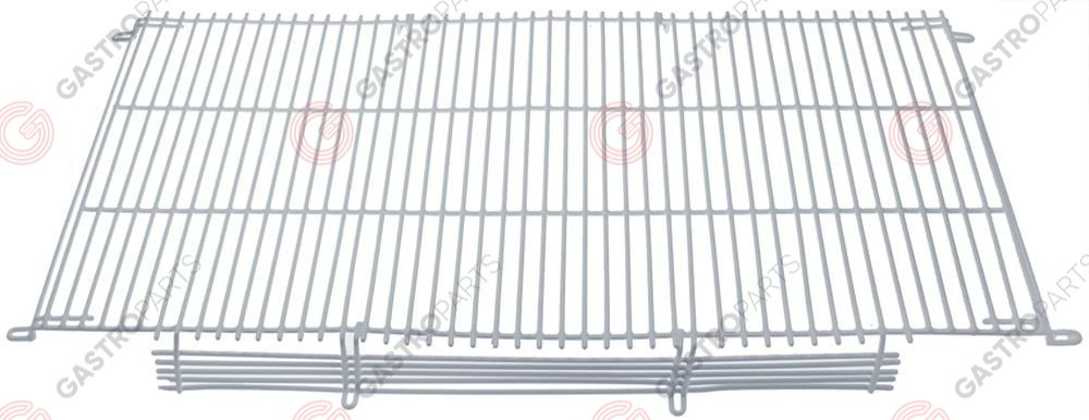 971.149, Shelf W 715mm L 365mm H 55mm plastic-coated steel lengthwise wires gauge 4mm crossing wires 4 white